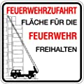 LEMAX® Schild Feuerwehrzufahrt Fläche für die Feuerwehr freihalten Alu 500 x 500 mm (Brandschutzzeichen, parken verboten, Ausfahrt freihalten) praxisbewährt, wetterfest