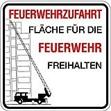 H.Klar Schild Alu Feuerwehrzufahrt Fläche für die Feuerwehr freihalten 500x500mm