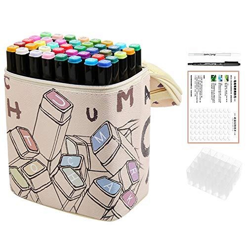 Markierungsstift,Marker Set,40 Farben Doppelspitze Twin Marker Pen Alkoholbasierte Tintenmarkierer Markieren Sie Stifte mit Tragetasche für Indoor-Outdoor-Design-Anstrich - Flipchart-tragetasche