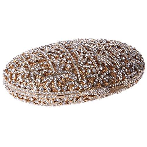 Damen Clutch Abendtasche Handtasche Geldbörse Schick Strass Kristall Glitzersteinchen Tasche mit wechselbare Trageketten von Santimon(4 Kolorit) Gold