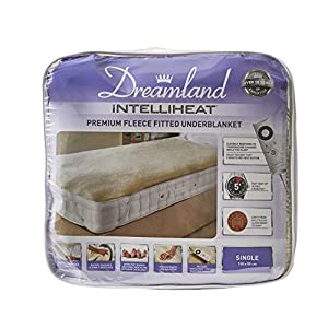 Dreamland Intelliheat Fast Heat Premium Soft Fleece Electric Underblanket, Natural, Single Size 150 x 80 cm, 1 Control, Easy Fit Elasticated Straps, Machine Washable, Extra Foot Warmth