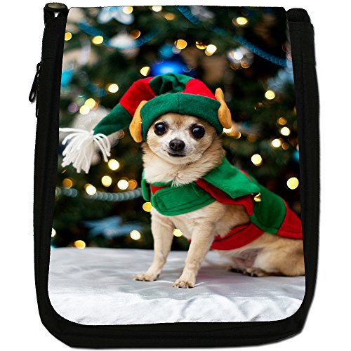 Chihuahua messicano taco Bell cane medio nero borsa in tela, taglia M Chihuahua Dressed As Elf