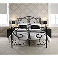 KOSY KOALA 4FT6 DOUBLE BLACK METAL BED FRAME WITH CRYSTAL FINIALS (Black, 4ft6 Double)