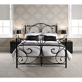 e3be758e864b KOSY KOALA 4FT6 DOUBLE BLACK METAL BED FRAME WITH CRYSTAL FINIALS (Black,  4ft6 Double)
