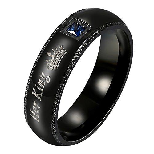 OIDEA Herren Ringe schwarz, Edelstahl Ring mit Her King Stein Ehering Trauringe für Herren-Ring,, Größe 54 (King Ring, 62 (19.7))