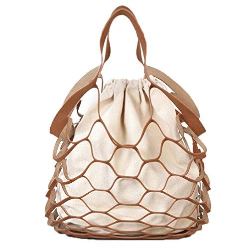 Longra Donne Tipo cavo netto della borsa della spalla della singola combinazione combinata del sacchetto della benna Marrone