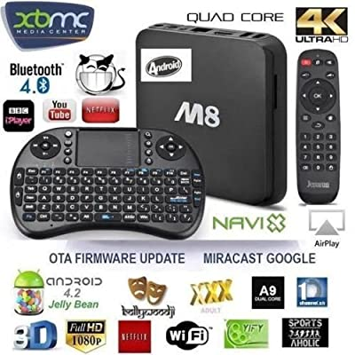 Android Tv Box M8/mxiii/4k Fully Loaded Quad Core 4k 4.4.4 Kitkat Ultra Hd Fully Jailbroken Xbmc Stream Movies Sports Next Generation Android Tv Box Fastest On The Market To Date Worldwide Tv At Your Finger Tips Wifi / Ethernet Connection