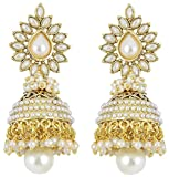 Shining Diva Brass Pearl Polki Jhumki Ea...