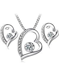 FLORAY Mujer Juegos de joyas Colgante de Corazón Collar y Pendientes Chapado en Oro Blanco y Cristal