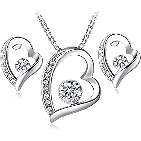 Floray Ladies Heart Pendant Necklace and Earrings Jewellery Sets, Gold Plated, Clear Crystal