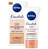Nivea Essentials BB Cream Super Idratante 24H Uniformante, Crema Giorno Viso SPF 15, Colore Dorato, 50 ml