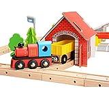 KAJA 80 Pcs Wooden Train Track Set Compatible with Thomas Brio Train Wooden Railway Kids Train Set for Toddlers