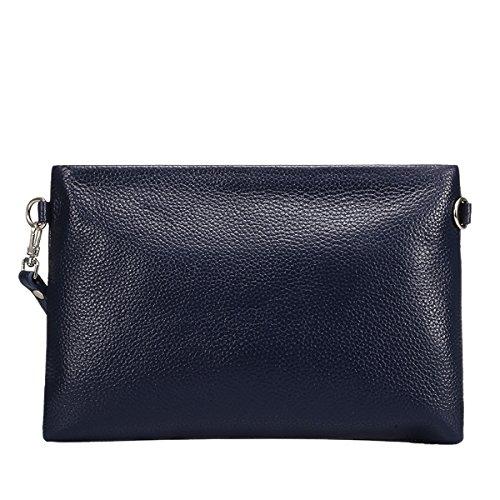 Valin QQB061 Damen Leder Clutch Unterarmtasche Abendtasche,24.5x2x16.6 B x T x H (cm) Blau