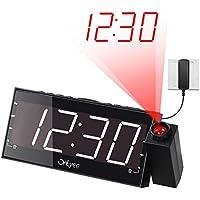 """OnLyee 7"""" LED Dimmable Projecteur Horloge Radio-Réveil avec FM,Port de Recharge USB,Double Alarme,Batterie de Secours,Minuterie De Sommeil"""