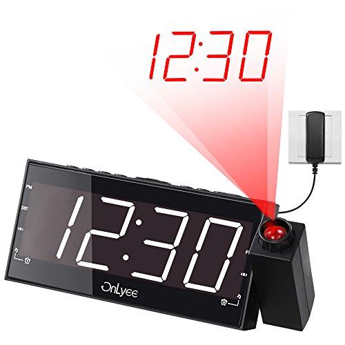 OnLyee 7'' Reloj LED Digital con Proyección, Alarma, Radio FM, Atenuador, Carga USB, Batería de Respaldo