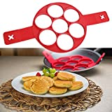 4/7 Holes Egg Cooker,Silicone Fired Egg Mold Pancake Mold,Food-Grade Silicone Non-Stick Egg Ring Mold Assorted Shapes Round/Oval/Flowers Reusable Non Stick Pancake Maker