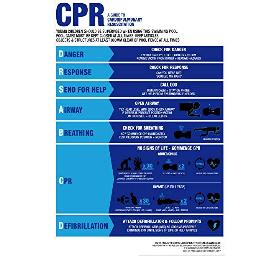 DADEQISH CPR-Zeichen-Wiederbelebungs-Diagramm des Schwimmbad-Badekurort-Warnungs-Sicherheitszeichens PVC-Aufkleber Werkzeugzubehör -