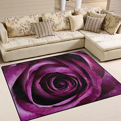 yibaihe lila Blume gedruckt Große Fläche Teppiche, leicht rutschfeste antistatisch wasserabweisend Boden Teppich für Wohnzimmer Schlafzimmer Home Deck Terrasse,203 x 147 cm