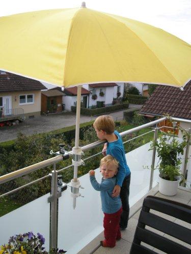 2 X - SONNENSCHIRMHALTER für BALKONGELÄNDER 25,5 mm bis 55 mm Ø für Außen oder Innen...