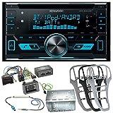 Kenwood DPX-5000BT Autoradio mit Bluetooth Freisprecheinrichtung CD USB MP3 Aux In Einbauset für Opel Astra J, Farbe der Radioblende:Platin-Silber