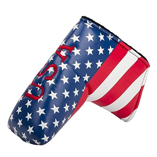 FLTRADE American USA Stars & Stripes Drapeau couvertures de tête de putter de golf Couvre-fer pour...