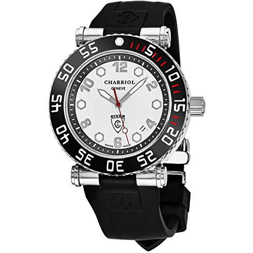 Charriol Men's Rotonde 43mm Black Rubber Band Quartz Watch RT42DIVB.142D02