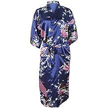 147dd7d63702 HonourSport-Kimono Japonais en Satin Sexy Robe de Chambre 1 2 Manches  Peignoir-