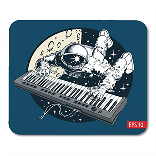 """AOCCK Gaming Mauspads, Gaming Mouse Pad Spaceman Astronaut Playing Piano Synthesizer in Space Tourist Vector Illustration 11.8""""x 9.8"""" Decor Office Nonslip Rubber Backing Mousepad Mouse Mat"""