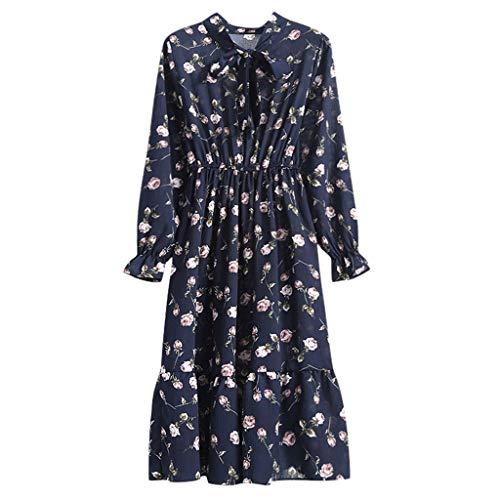 Tohole Damen Langarm Druck Vintage Maxi Kleid Lose Kleid Pastoralen Eleganten Kleid Strandkleid Einem GekräUselten Kleid(Marine A,S)