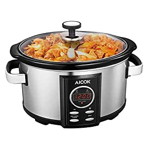Aicok Slow Cooker, Multi Cookers, Ceramic Pot with Digital Countdown Timer, Tempered Glass Cover, Stainless steel, Silver, 6.5 Liter