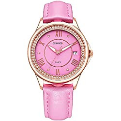 Comtex Girl's Watch with Pink Dial Analogue Display and Pink Leather Strap Calendar