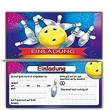 Bowling Einladungskarten Ohne Umschlag im 12er Set Zum Kindergeburtstag| Kegeln Kinder Geburtstag-Einladungen Karten Feier Party Jungen Mädchen