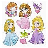 Stickerkoenig Wandtattoo XXL 3D Sticker Wandsticker - Prinzessinen Prinzessin Set #573 Kinderzimmer Deko auch für Wände, Fenster, Schränke, Türen etc auf Bogen Wandaufkleber