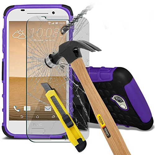 Samsung Galaxy J7 2016 étui ( noir ) couvercle pour Samsung Galaxy J7 2016 boîtier durable book style portefeuille en cuir polyuréthane élégant couvercle rabattable classique étui couverture de peau+  Shock + glass (Purple)