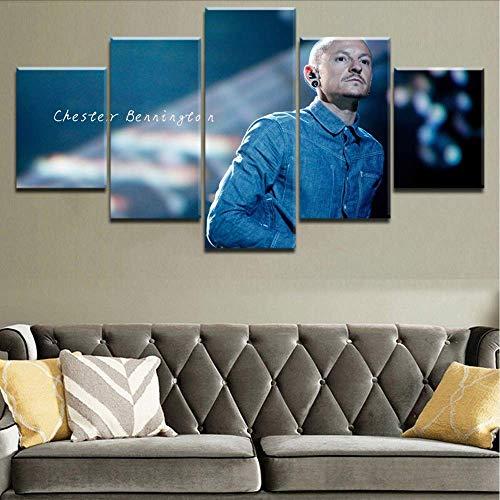 Wuwenw 5 Stücke Leinwand Druck Musik Linkin Park Malerei Chester Bennington Poster Rahmen Für Moderne Dekorative Schlafzimmer, 16X24 / 32/40 Zoll, Ohne Rahmen - Park Schlafzimmer