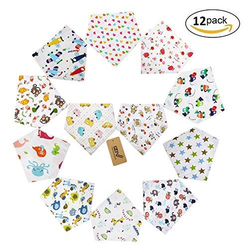 iZiv(TM) Baberos del Bebé - Paquete de 12 Diseños Pañuelo con Snaps Ajustables, Forro Suave para niño 0-2 años (Color-2)