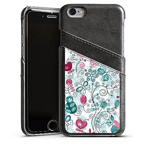Apple iPhone 5 Housse Étui Silicone Coque Protection Papillons Vrilles Fleurs Étui en cuir gris