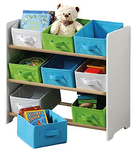 Kesper 17716 13 Kinder-Aufbewahrungsregal mit 9 Stoffboxen, weiß