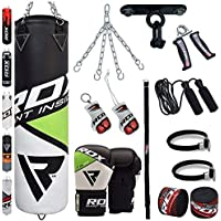 Rathgeber 21953 Bag MMA Kick Boxing Punch Bags Filled 15 kg 30 X 60 cm with Chain