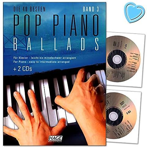 Piano Pop Ballads bande 3–40meilleurs Ballads facile à moyen arrangés pour Piano–SONGBOOK avec 2CD et avec cœur Note colorée Pince
