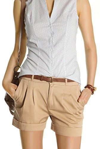 Bestyledberlin Damen Shorts, kurze Chino Hosen, Damenhosen, Bundfaltenhosen j161p 38/M hellbraun