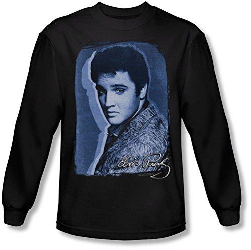 Elvis Presley - Herren-Overlay Longsleeve T-Shirt Black