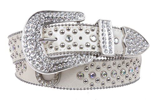 Rhinestone Stud Belt (Womens Western Rhinestone Silver Circle Studs and Horseshoes Belt Size: S/M - 34 Color: White)