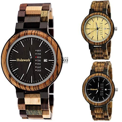1cd1a3e4d8 Handgefertigte Holzwerk Germany® Matrix Herren-Uhr Öko Natur Holz-Uhr Holz  Armband-