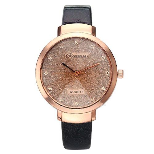 JSDDE Uhren,Elegante Damen Armbanduhr Braunglas Glitzer Dial XS Slim PU Leder-Band Ladies Dress Analog Quarzuhr,Schwarz - 2