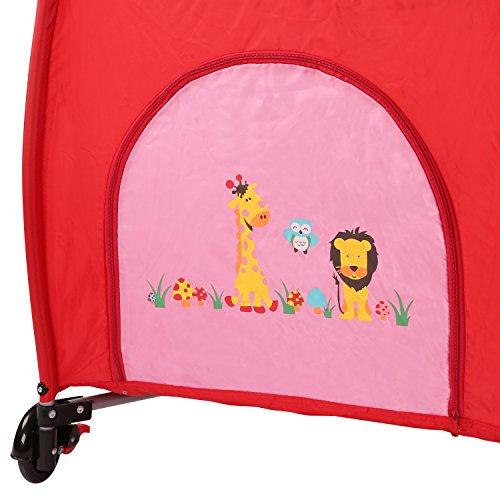 KIDUKU® Kinderreisebett Kinderbett Säuglingsbett Babybett Klappbett Reisebett für Kinder Zweitbett, mit zweiter Ebene für Kleinkinder/Säuglinge, 6 verschiedene Farben, kompakt, höhenverstellbar (Pink)