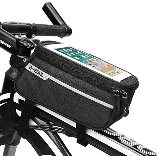 TaoMorall Fahrradtasche Rahmentasche Oberrohrtasche Fahrrad Handy Tasche Vorne Sensitive Touch-Screen Wasserdicht für Smartphones Innerhalb von 6 Zoll(Schwarz) Damen-cbr