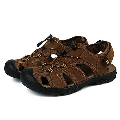 Motorun Hommes Sandales en cuir de Chaussures pour homme 86Lightbrown