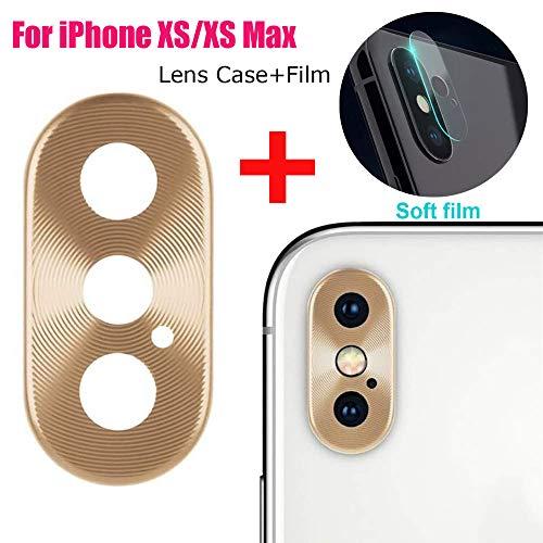 Fcostume Metall Rückfahrkamera Objektiv Hülle Schutzfolie + Film für iPhone XS/XS max (Gold)