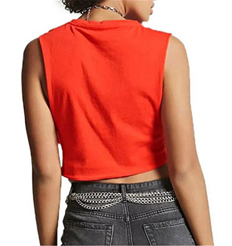 Aoliait Loose Donne Camicetta T-Shirt Donne Estivi Allacciatura Puro Colore Canotta Senza Maniche Camicetta Casual Tops Maglietta Red